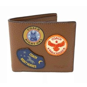 Coach Mens Double Billfold Wallet Military Patches